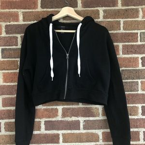 Forever 21 Cropped Zip Up Hoodie